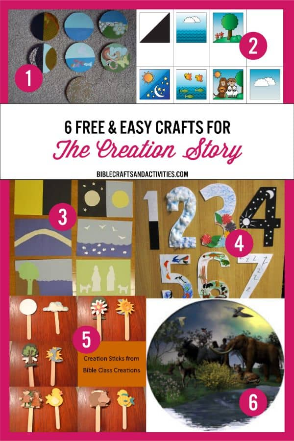 collage image of kids crafts for the creation story
