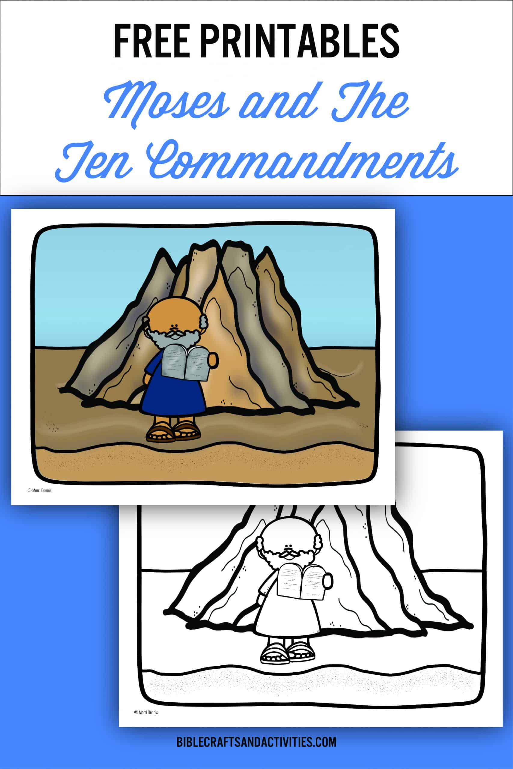 coloring page for Moses and the Ten Commandments