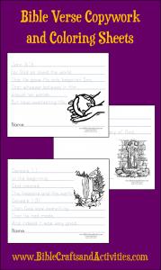 Bible Verse Copywork and Coloring Sheets Bible Crafts