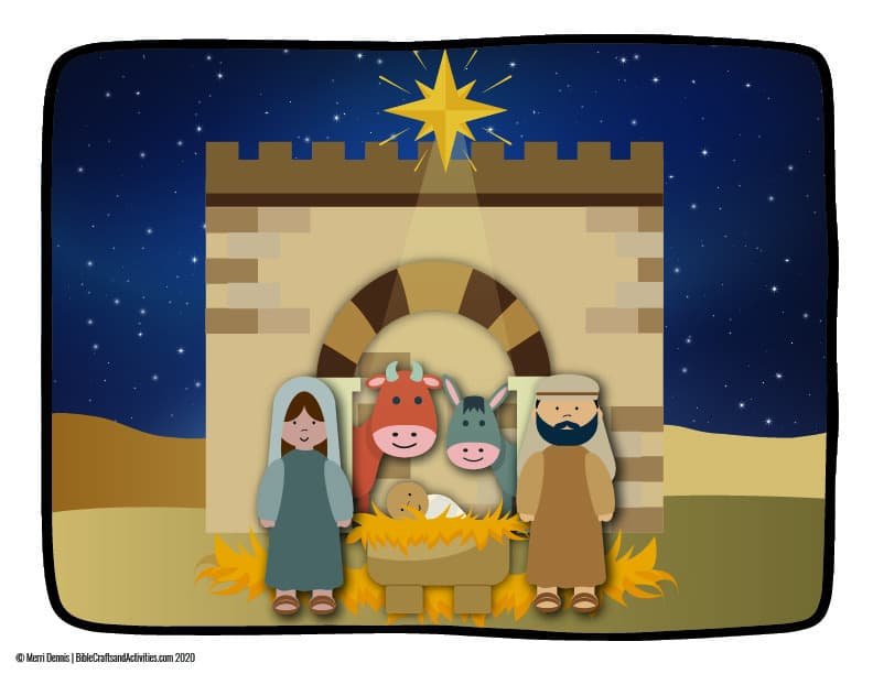 nativity story illustration with mary, joseph, baby jesus, stable, ox, donkey