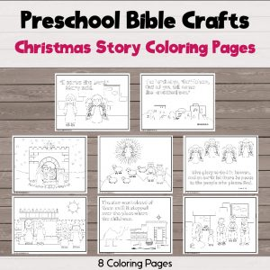 8 different coloring pages about the Christmas story from the Bible