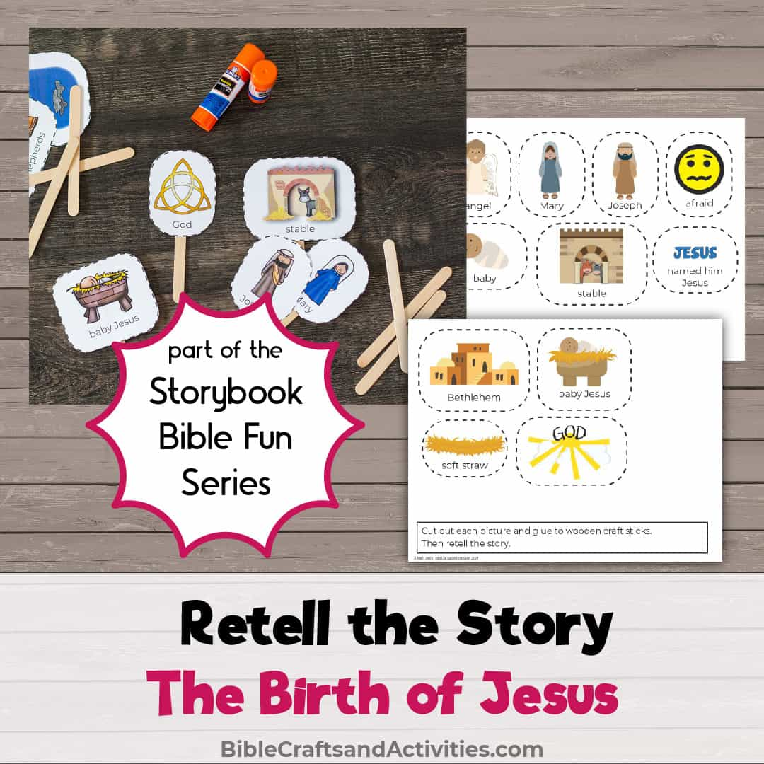 retell the nativity story with craft stick images